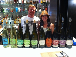 Brendon Keys with wife Kirsty and their range of wines
