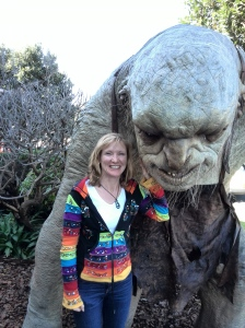 Tigs with friend at Weta studios, Miramar, Wellington